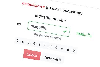 Practicar conjugar verbos catalanes